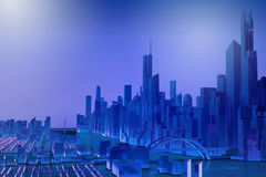 Blue simplified city with river Stock Image