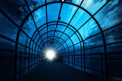 Blue sinister tunnel Stock Photography
