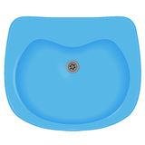 Blue sink. Top view, pure, vector image vector illustration