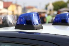 Blue sirens of italian police car Stock Photography