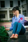 Blue, Sitting, Girl, Beauty royalty free stock photo