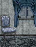 The Blue Sitting Room. A sitting room in various shades of blue and grey Stock Photos