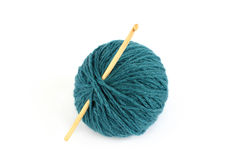 Blue skein and crochet hook Stock Image