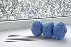 Blue skeins are on the windowsill Stock Image