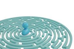 A blue sketch man in maze center. 3D illustration. A blue sketch man in maze center. 3D illustration stock illustration