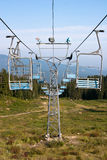Blue ski lift. In summer Stock Photography