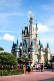 Blue skies above Cinderella's Castle, Walt Disney World. Royalty Free Stock Photo