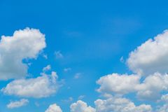 The blue skies and constantly moving clouds. Terrain of the sky every day with clouds alternating back and forth royalty free stock images