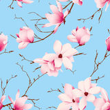 Blue skies and magnolia flowers seamless vector pattern Royalty Free Stock Photos
