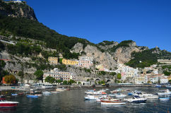 Blue Skies Over a Bay Along the Amalfi Coast in Italy. Pretty blue skies over a bay on the Amalfi Coast in Italy Stock Images