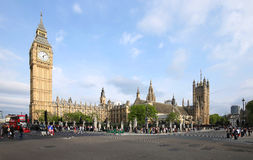 Blue skies over Big Ben and the House of Parliament as sightseers enjoy London Royalty Free Stock Images