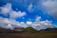 Blue skies over Bromo volcano, Indonesia Royalty Free Stock Photography