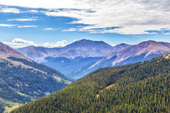 Blue skies over mountains and forests Royalty Free Stock Photo