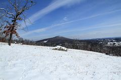 Blue Skies over Pilot Mountain After Fresh Snowfall Stock Images