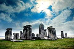 Blue skies over Stonehenge. Historic site. Stonehenge in UK, England Royalty Free Stock Photography