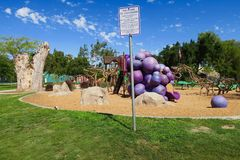 Blue skies over Vinehenge Playground, Grape Day Park, Escondido, California, United States. An innovative, creative, theme based playground in Californias wine stock image