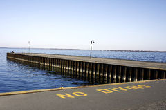 Blue Skies Pier Lake No Diving Sign Landscape Stock Photo