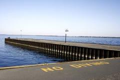 Blue Skies Pier Lake No Diving Sign Landscape Stock Photo