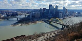Point State Park from  Mt Washington Allegheny River Pgh Pa. Blue skies Point State Park views of allegheny river and monongahela river at Pittsburgh point with royalty free stock image