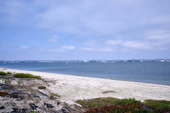 Blue skies with puffy white clouds on Coronado Bay, San Diego, California Royalty Free Stock Images
