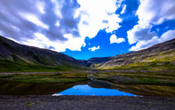 Blue skies reflecting in lake Stock Photography
