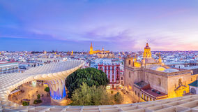 Blue skies of Seville. From the top of the Space Metropol Parasol (Setas de Sevilla) one have the best view of the city of Seville, Spain. It provides a unique Stock Image