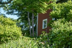 New England style red barn in Groton, Ma surrounded by early summer time green leavesio. Blue skies, white trim, window in barn, sunny summer day, small field stock photos