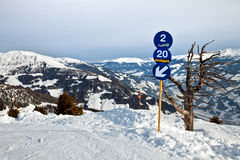 Blue skiing route Stock Image