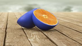 Blue skin orange Stock Photo