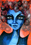 Blue skinned woman Royalty Free Stock Image