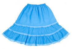 Blue Skirt Isolated on White Royalty Free Stock Photography