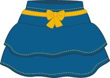 The blue skirt with a yellow bow. The skirt with ruffles and yellow lines Royalty Free Stock Photography
