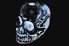 Blue Skull. In black background. Desktop wallpaper stock illustration