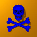 Blue skull, low-poly illustration. 3d Low-poly mesh blue skull illustration on colorful background Royalty Free Stock Photos