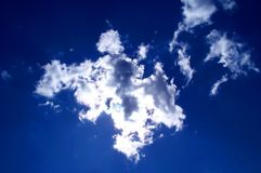 Blue sky. Clouds covering the sun. Perfect clear and bright atmosphere stock photos
