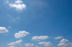 The blue sky. With fluffy clouds Royalty Free Stock Image