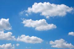 The blue sky. With fluffy clouds Stock Photography