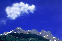 Blue sky. Picture has been taken near mount Titlis. It was bright afternoon Royalty Free Stock Photography