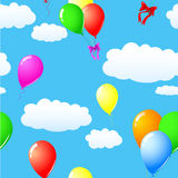 Blue sky. Seamless of blue sky with colorful balloons Royalty Free Stock Photo