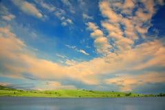 Blue sky. Lake and blue sky in Bulgaria stock photo