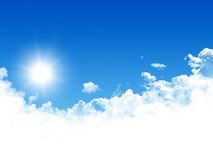 Blue sky. With clouds and sun Royalty Free Stock Image