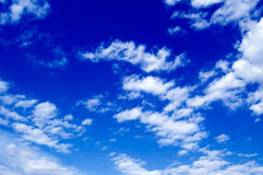 The blue sky. The beautiful white clouds on background blue sky Royalty Free Stock Images