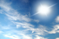 Blue sky. With white clouds Stock Photos
