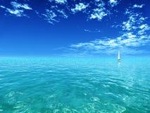 Blue sky. Tropical ocean with a yacht stock photo