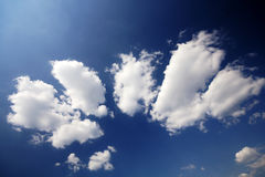 Blue Sky. A beautiful blue sky with white clouds Royalty Free Stock Photo