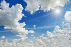 Blue sky. Sun and white cloud on blue sky Royalty Free Stock Photos