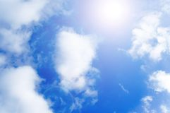 Blue_sky. A blue sky and sun royalty free stock images