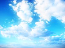 Blue sky. Clouds on beautiful bright blue horizon. Cloudscape Royalty Free Stock Photo