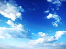 Blue sky. Clouds on beautiful bright blue horizon. Cloudscape Stock Photography
