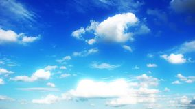 Blue sky. Clouds on beautiful bright blue horizon. Cloudscape Stock Photo